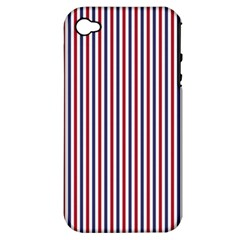Usa Flag Red And Flag Blue Narrow Thin Stripes  Apple Iphone 4/4s Hardshell Case (pc+silicone) by PodArtist