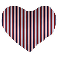 Usa Flag Red And Flag Blue Narrow Thin Stripes  Large 19  Premium Heart Shape Cushions by PodArtist