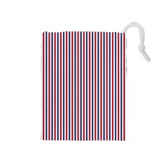 Usa Flag Red And Flag Blue Narrow Thin Stripes  Drawstring Pouches (medium)  by PodArtist
