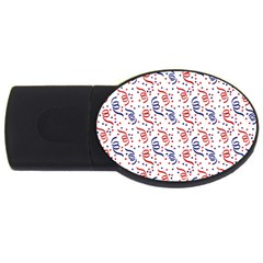 Red White And Blue Usa/uk/france Colored Party Streamers Usb Flash Drive Oval (2 Gb) by PodArtist