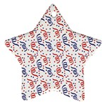 Red White and Blue USA/UK/France Colored Party Streamers Star Ornament (Two Sides) Back