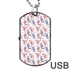 Red White And Blue Usa/uk/france Colored Party Streamers Dog Tag Usb Flash (one Side) by PodArtist