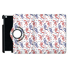 Red White And Blue Usa/uk/france Colored Party Streamers Apple Ipad 3/4 Flip 360 Case by PodArtist