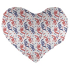 Red White And Blue Usa/uk/france Colored Party Streamers Large 19  Premium Heart Shape Cushions by PodArtist