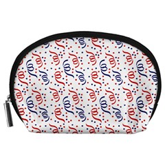 Red White And Blue Usa/uk/france Colored Party Streamers Accessory Pouches (large)  by PodArtist