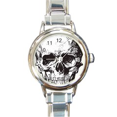 Skull Vintage Old Horror Macabre Round Italian Charm Watch