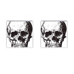 Skull Vintage Old Horror Macabre Cufflinks (square) by Sapixe