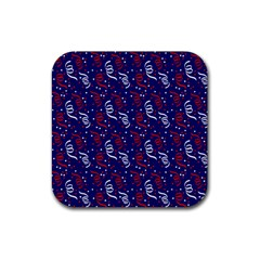 Red White And Blue Usa/uk/france Colored Party Streamers On Blue Rubber Square Coaster (4 Pack)  by PodArtist