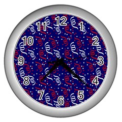 Red White And Blue Usa/uk/france Colored Party Streamers On Blue Wall Clocks (silver)  by PodArtist