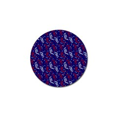 Red White And Blue Usa/uk/france Colored Party Streamers On Blue Golf Ball Marker by PodArtist
