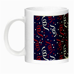 Red White And Blue Usa/uk/france Colored Party Streamers On Blue Night Luminous Mugs by PodArtist