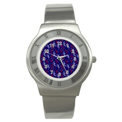Red White And Blue Usa/uk/france Colored Party Streamers On Blue Stainless Steel Watch by PodArtist