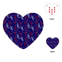 Red White And Blue Usa/uk/france Colored Party Streamers On Blue Playing Cards (heart)  by PodArtist