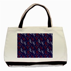 Red White And Blue Usa/uk/france Colored Party Streamers On Blue Basic Tote Bag by PodArtist