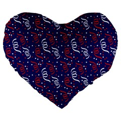 Red White And Blue Usa/uk/france Colored Party Streamers On Blue Large 19  Premium Heart Shape Cushions by PodArtist