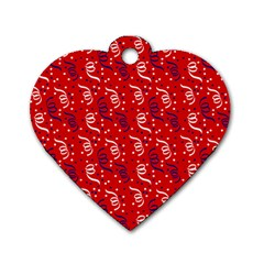 Red White And Blue Usa/uk/france Colored Party Streamers Dog Tag Heart (one Side) by PodArtist