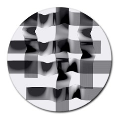 Geometry Square Black And White Round Mousepads by Sapixe