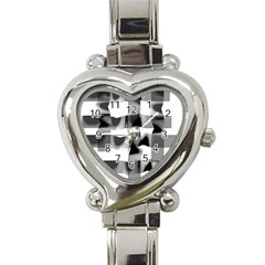 Geometry Square Black And White Heart Italian Charm Watch