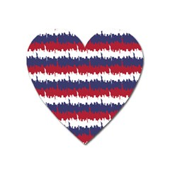 244776512ny Usa Skyline In Red White & Blue Stripes Nyc New York Manhattan Skyline Silhouette Heart Magnet by PodArtist