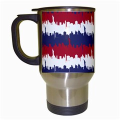 244776512ny Usa Skyline In Red White & Blue Stripes Nyc New York Manhattan Skyline Silhouette Travel Mugs (white) by PodArtist