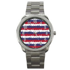 244776512ny Usa Skyline In Red White & Blue Stripes Nyc New York Manhattan Skyline Silhouette Sport Metal Watch by PodArtist