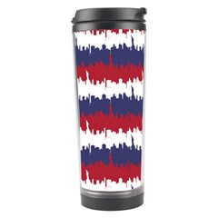 244776512ny Usa Skyline In Red White & Blue Stripes Nyc New York Manhattan Skyline Silhouette Travel Tumbler by PodArtist