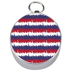 244776512ny Usa Skyline In Red White & Blue Stripes Nyc New York Manhattan Skyline Silhouette Silver Compasses by PodArtist