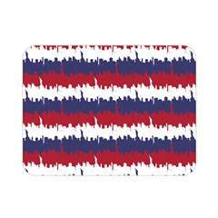 244776512ny Usa Skyline In Red White & Blue Stripes Nyc New York Manhattan Skyline Silhouette Double Sided Flano Blanket (mini)  by PodArtist