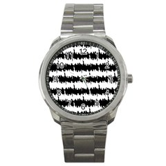 Black & White Stripes Nyc New York Manhattan Skyline Silhouette Sport Metal Watch by PodArtist