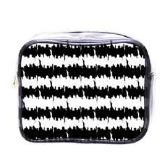Black & White Stripes Nyc New York Manhattan Skyline Silhouette Mini Toiletries Bags by PodArtist