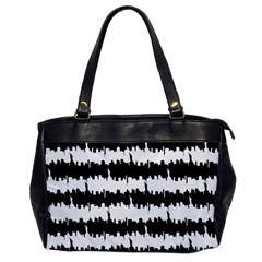 Black & White Stripes Nyc New York Manhattan Skyline Silhouette Office Handbags by PodArtist