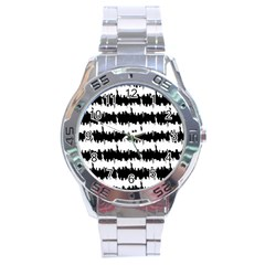 Black & White Stripes Nyc New York Manhattan Skyline Silhouette Stainless Steel Analogue Watch by PodArtist