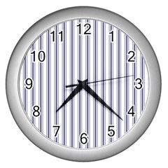 Mattress Ticking Wide Striped Pattern In Usa Flag Blue And White Wall Clocks (silver)  by PodArtist