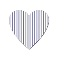 Mattress Ticking Wide Striped Pattern In Usa Flag Blue And White Heart Magnet by PodArtist
