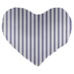 Mattress Ticking Wide Striped Pattern In Usa Flag Blue And White Large 19  Premium Heart Shape Cushions by PodArtist