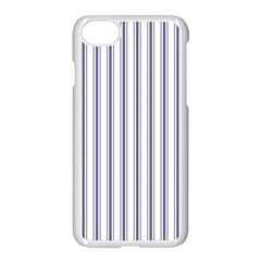 Mattress Ticking Wide Striped Pattern In Usa Flag Blue And White Apple Iphone 8 Seamless Case (white)
