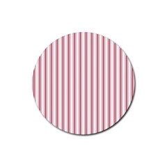 Mattress Ticking Wide Striped Pattern In Usa Flag Red And White Rubber Coaster (round)  by PodArtist