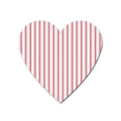 Mattress Ticking Wide Striped Pattern In Usa Flag Red And White Heart Magnet by PodArtist