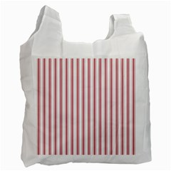 Mattress Ticking Wide Striped Pattern In Usa Flag Red And White Recycle Bag (one Side) by PodArtist