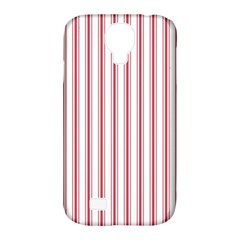 Mattress Ticking Wide Striped Pattern In Usa Flag Red And White Samsung Galaxy S4 Classic Hardshell Case (pc+silicone) by PodArtist