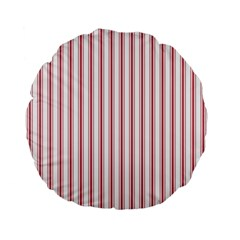 Mattress Ticking Wide Striped Pattern In Usa Flag Red And White Standard 15  Premium Flano Round Cushions by PodArtist