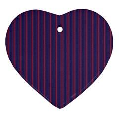 Mattress Ticking Wide Striped Pattern In Usa Flag Blue And Red Ornament (heart) by PodArtist