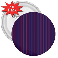 Mattress Ticking Wide Striped Pattern In Usa Flag Blue And Red 3  Buttons (10 Pack)  by PodArtist