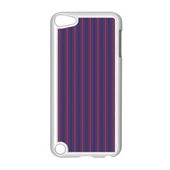 Mattress Ticking Wide Striped Pattern In Usa Flag Blue And Red Apple Ipod Touch 5 Case (white) by PodArtist