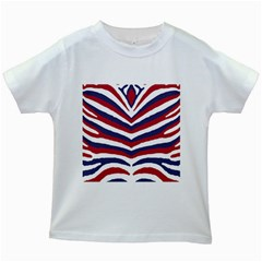 Us United States Red White And Blue American Zebra Strip Kids White T-shirts by PodArtist