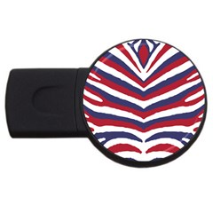 Us United States Red White And Blue American Zebra Strip Usb Flash Drive Round (4 Gb) by PodArtist