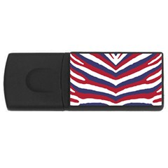 Us United States Red White And Blue American Zebra Strip Rectangular Usb Flash Drive by PodArtist