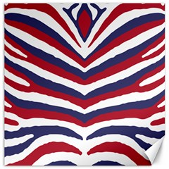 Us United States Red White And Blue American Zebra Strip Canvas 12  X 12   by PodArtist