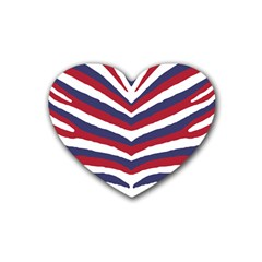 Us United States Red White And Blue American Zebra Strip Rubber Coaster (heart)  by PodArtist