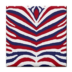 Us United States Red White And Blue American Zebra Strip Face Towel by PodArtist